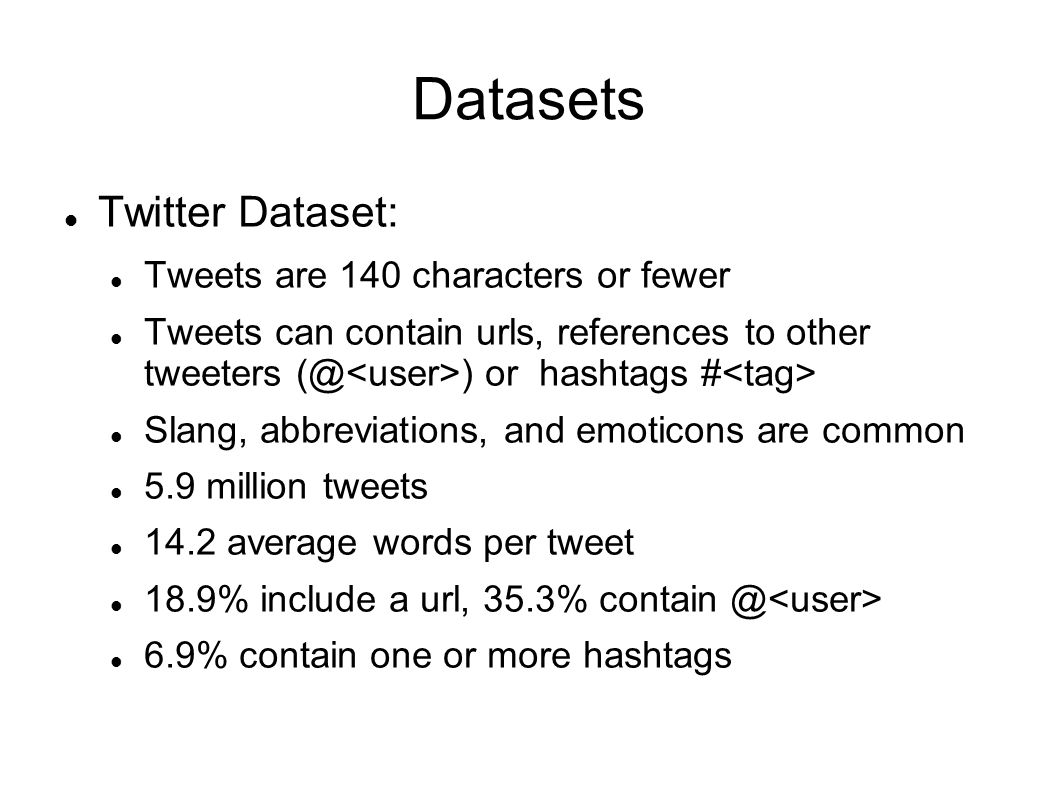 Datasets Twitter Dataset: Tweets are 140 characters or fewer