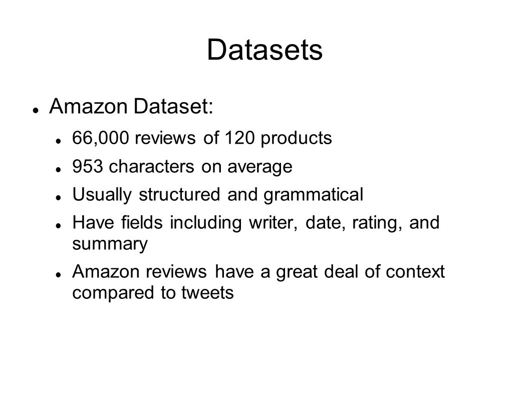 Datasets Amazon Dataset: 66,000 reviews of 120 products
