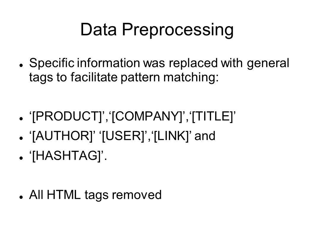 Data Preprocessing Specific information was replaced with general tags to facilitate pattern matching: