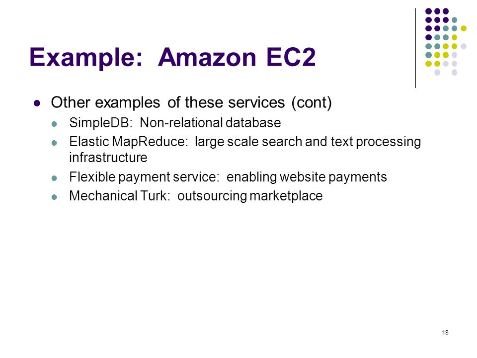 Example: Amazon EC2 Other examples of these services (cont)
