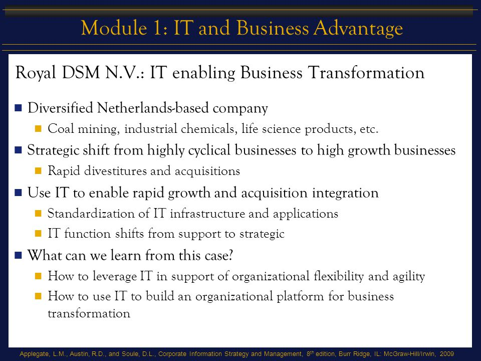 Royal DSM N.V.: IT enabling Business Transformation