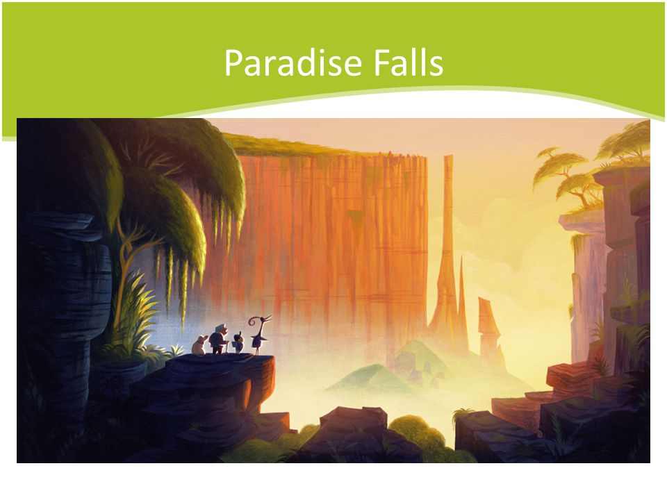 Paradise Falls In Pixar's movie Up , the characters travel to Paradise Falls in South America.