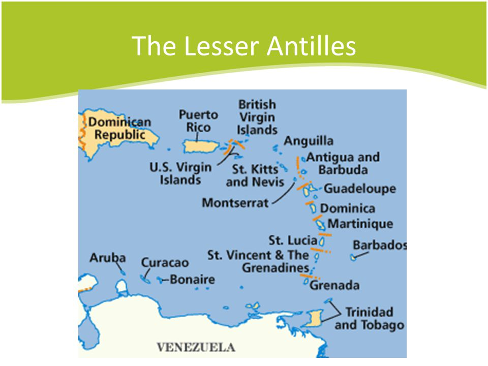 The Lesser Antilles Windward Islands are Dominica, Martinique, St. Lucia, St. Vincent, Grenadines & Granada.
