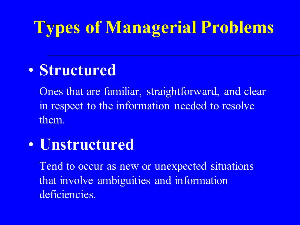 Types of Managerial Problems