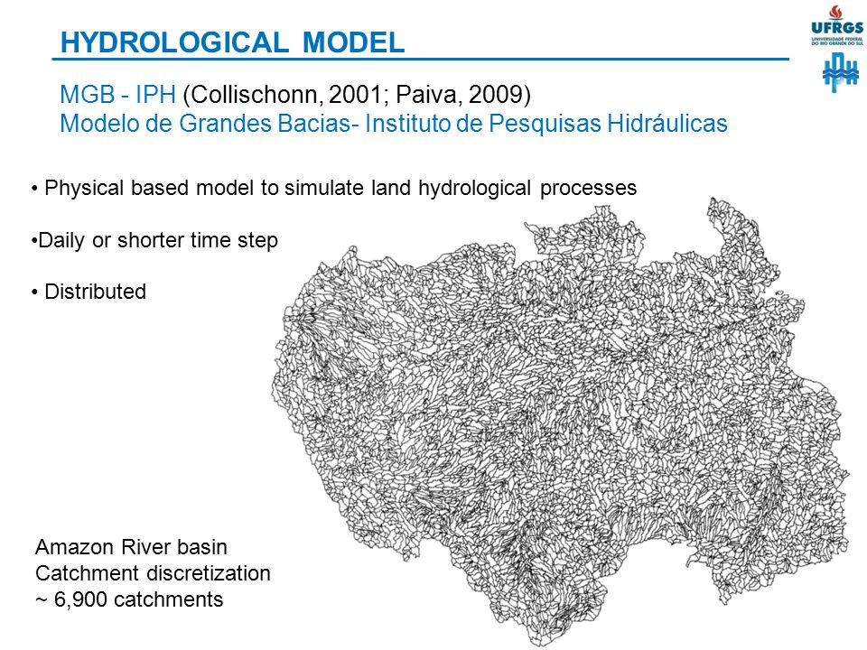 HYDROLOGICAL MODEL MGB - IPH (Collischonn, 2001; Paiva, 2009)