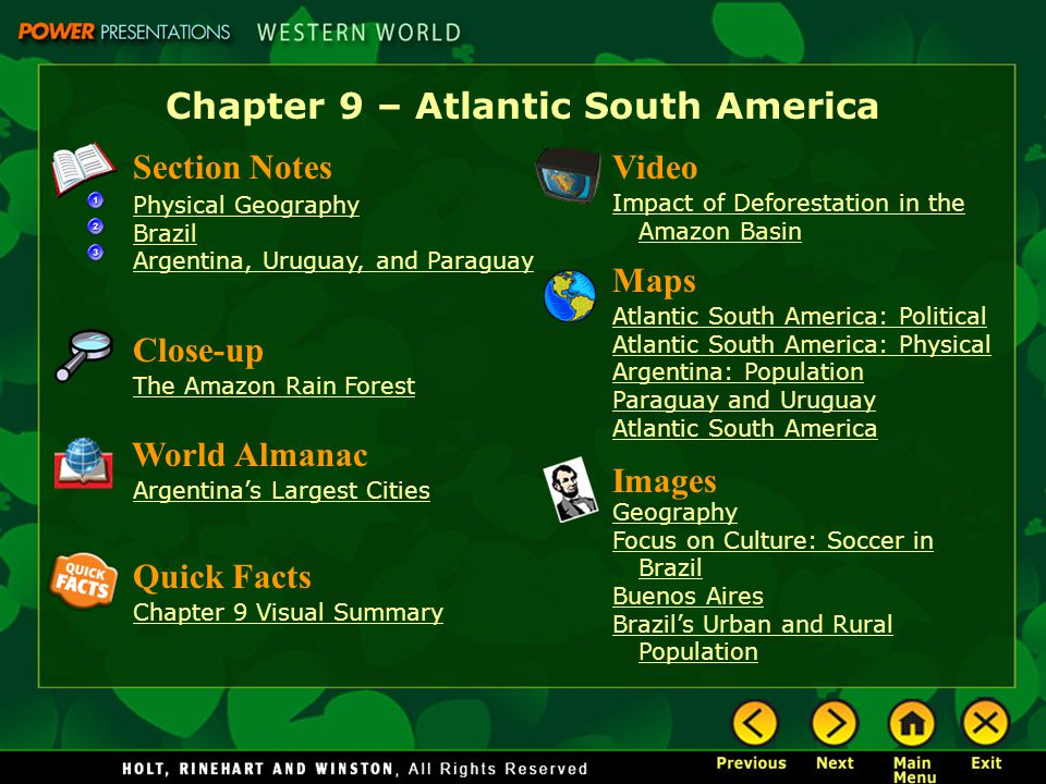 Chapter 9 – Atlantic South America