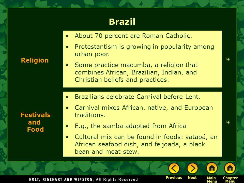 Brazil About 70 percent are Roman Catholic.