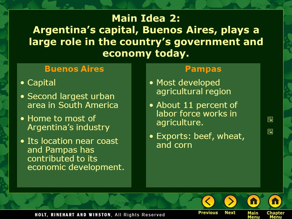 Main Idea 2: Argentina's capital, Buenos Aires, plays a large role in the country's government and economy today.