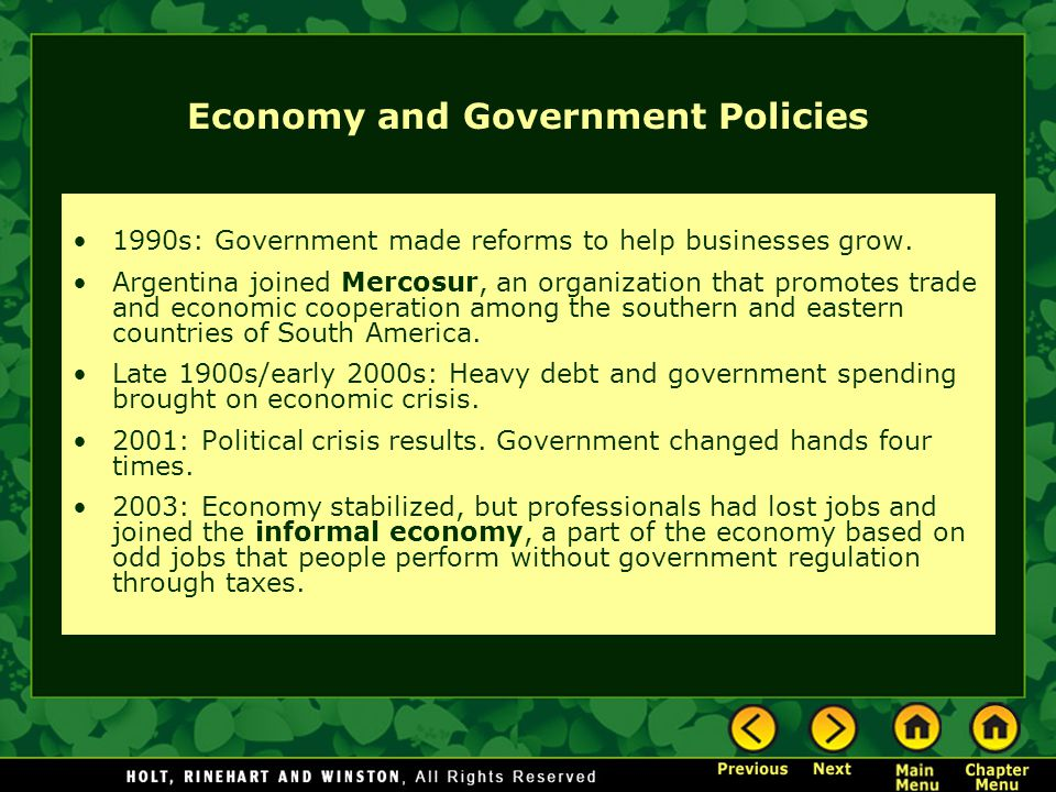 Economy and Government Policies
