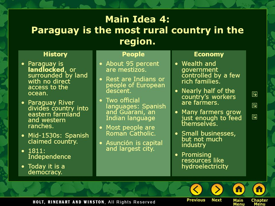 Main Idea 4: Paraguay is the most rural country in the region.