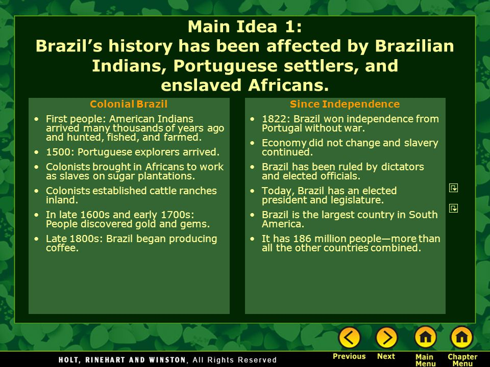Main Idea 1: Brazil's history has been affected by Brazilian Indians, Portuguese settlers, and enslaved Africans.