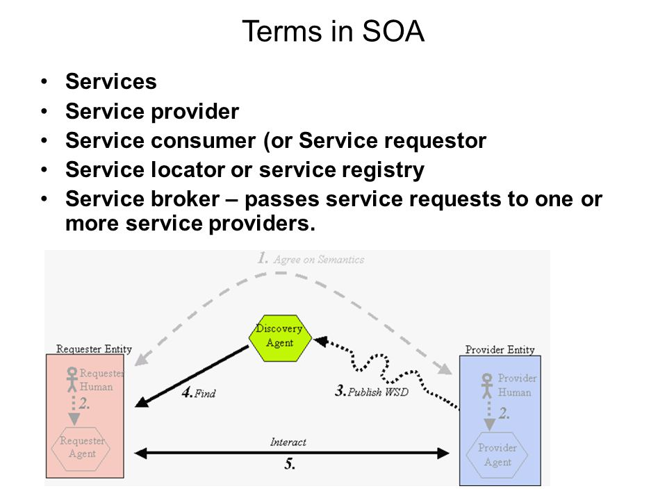 Terms in SOA Services Service provider