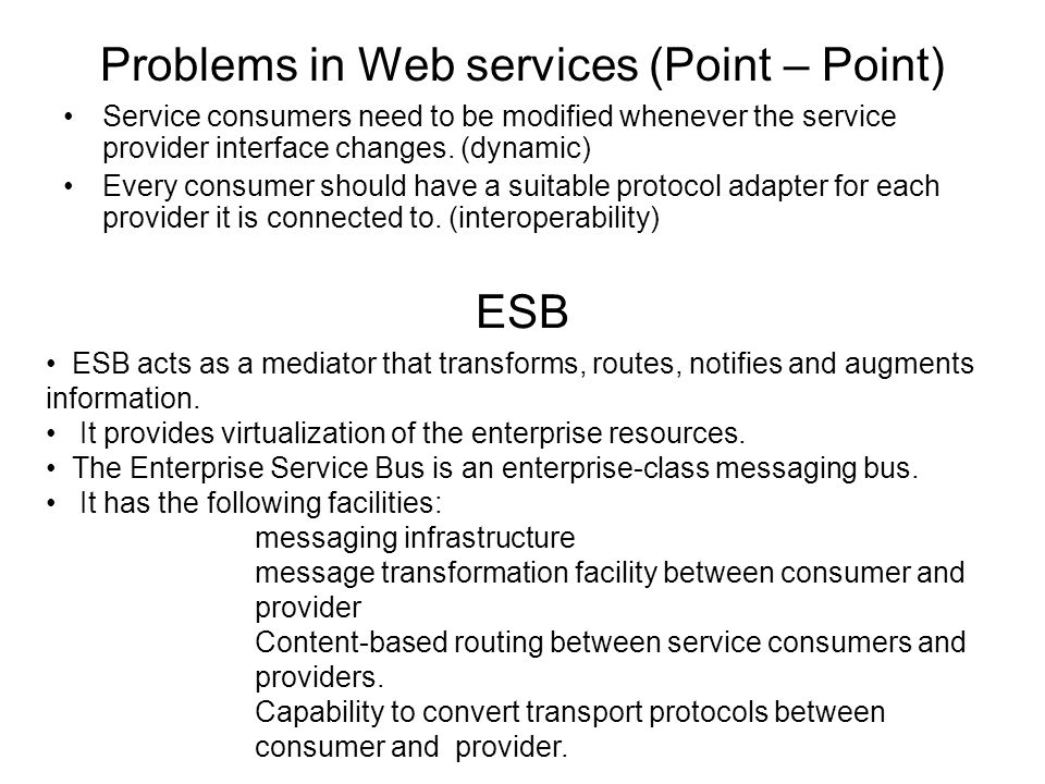 Problems in Web services (Point – Point)