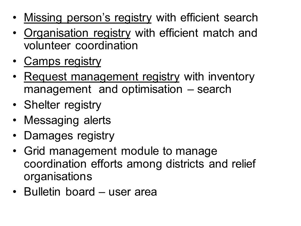 Missing person's registry with efficient search
