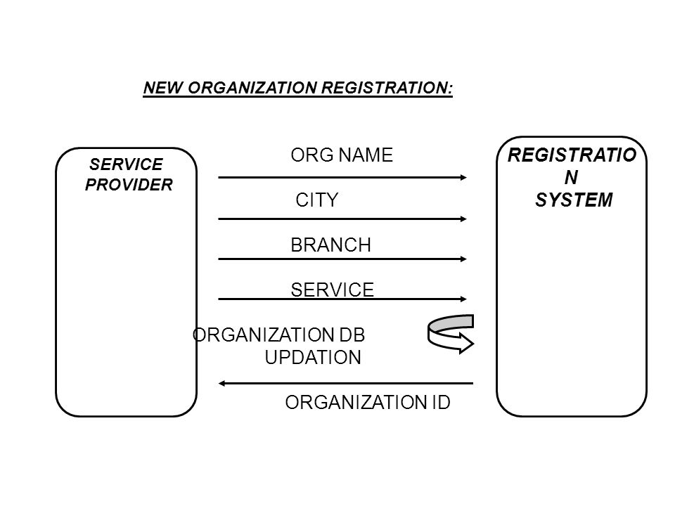 ORG NAME REGISTRATION CITY SYSTEM BRANCH SERVICE ORGANIZATION DB