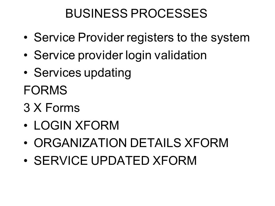BUSINESS PROCESSES Service Provider registers to the system. Service provider login validation. Services updating.