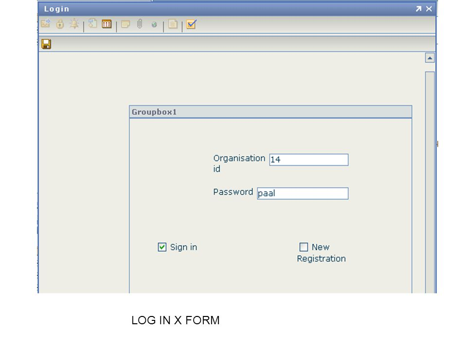 LOG IN X FORM