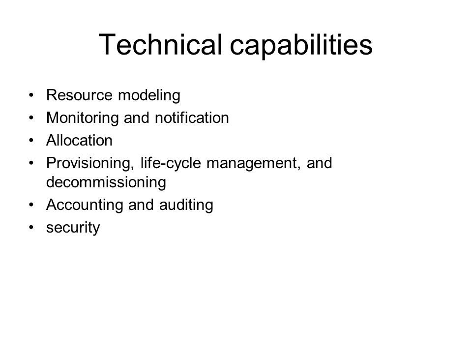 Technical capabilities