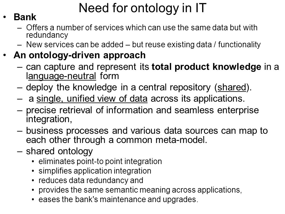 Need for ontology in IT Bank An ontology-driven approach