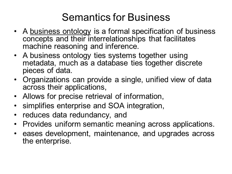 Semantics for Business
