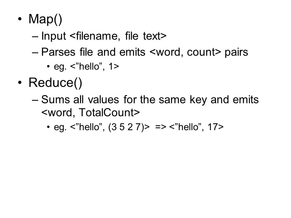 Map() Reduce() Input <filename, file text>