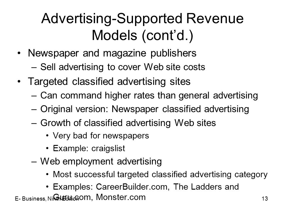 Advertising-Supported Revenue Models (cont'd.)