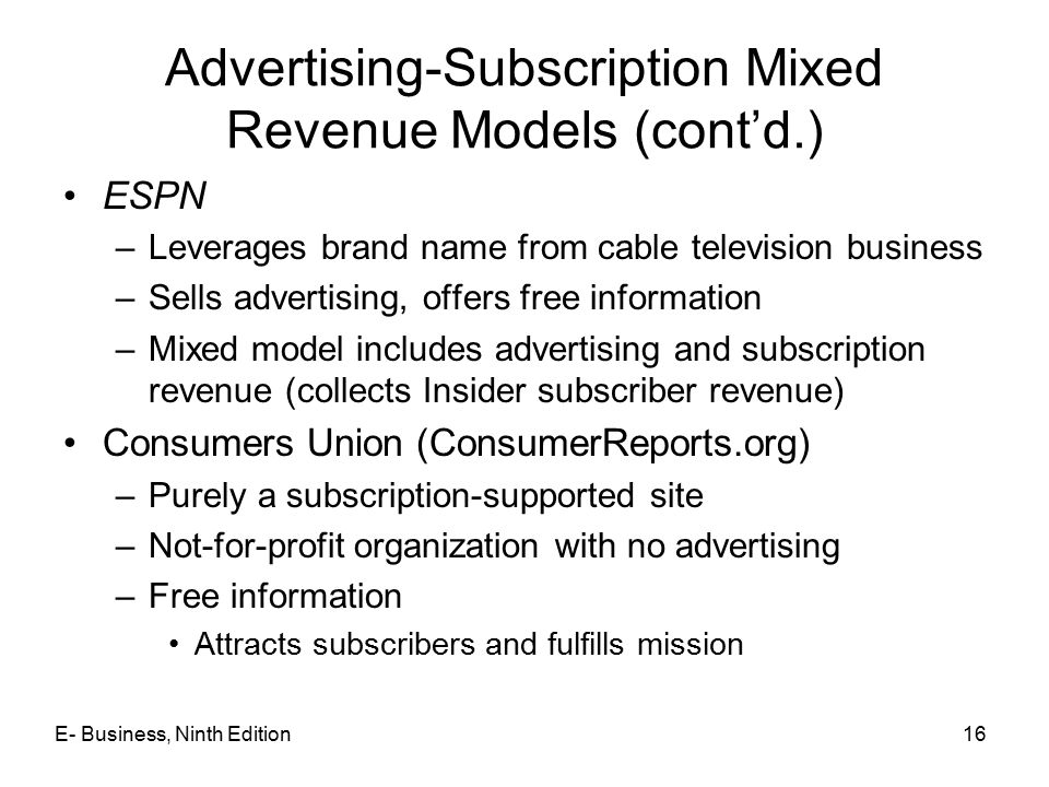 Advertising-Subscription Mixed Revenue Models (cont'd.)
