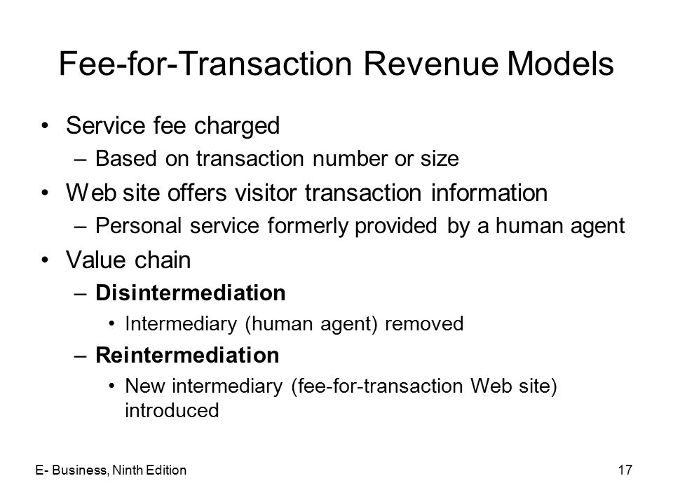 Fee-for-Transaction Revenue Models