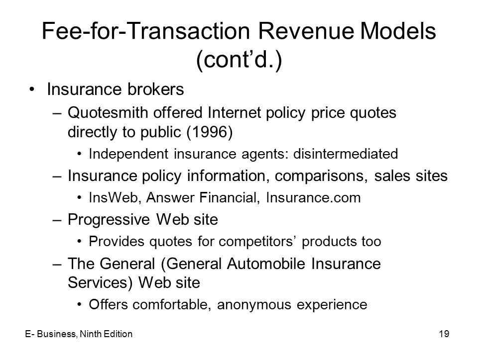 Fee-for-Transaction Revenue Models (cont'd.)