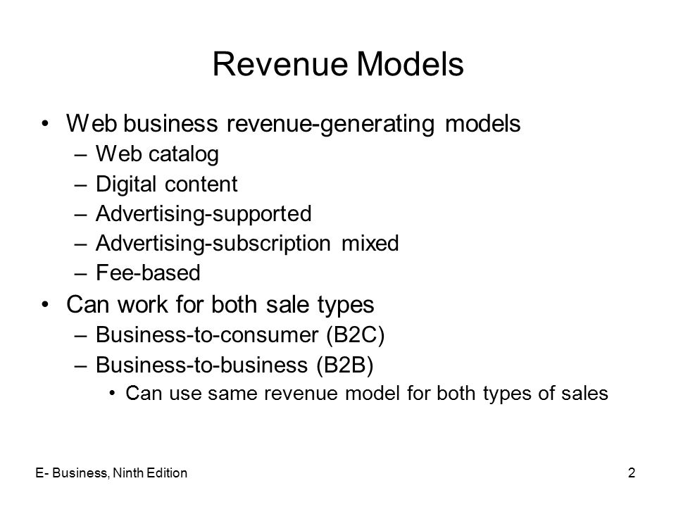Revenue Models Web business revenue-generating models