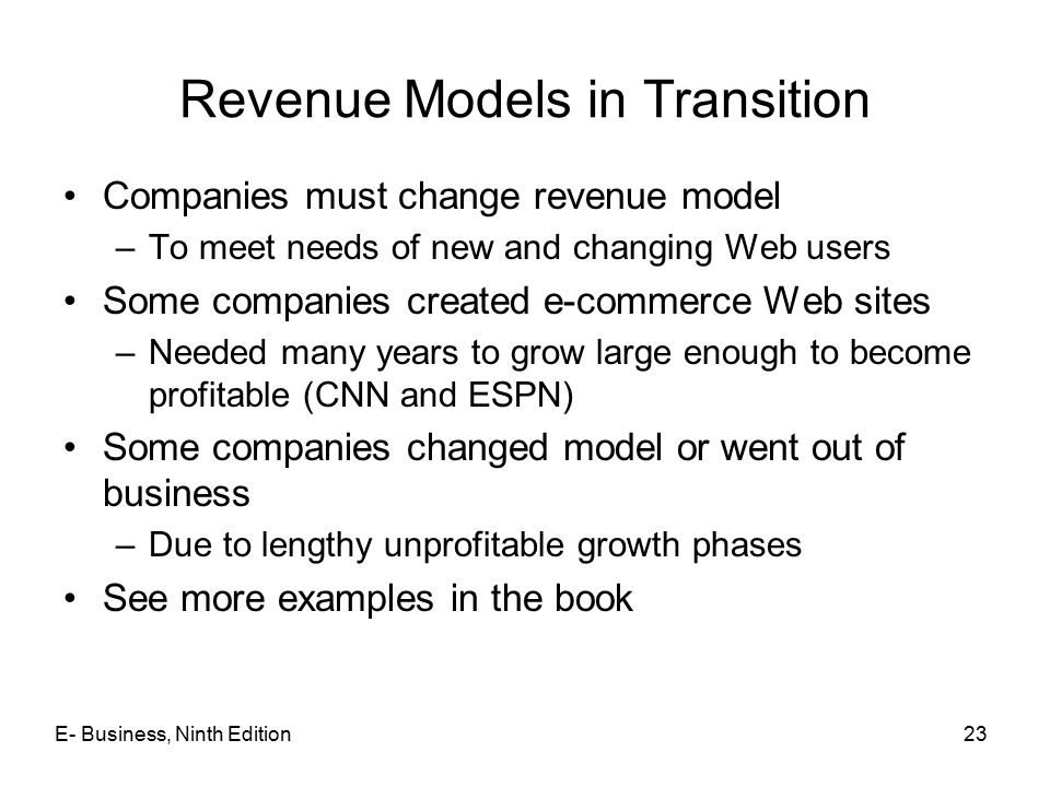 Revenue Models in Transition