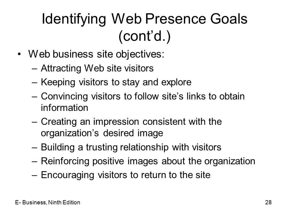Identifying Web Presence Goals (cont'd.)
