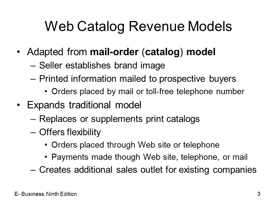 Web Catalog Revenue Models