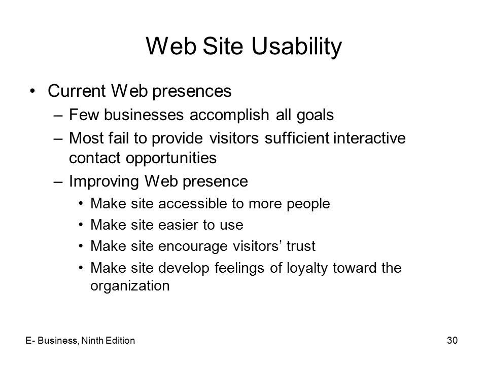 Web Site Usability Current Web presences