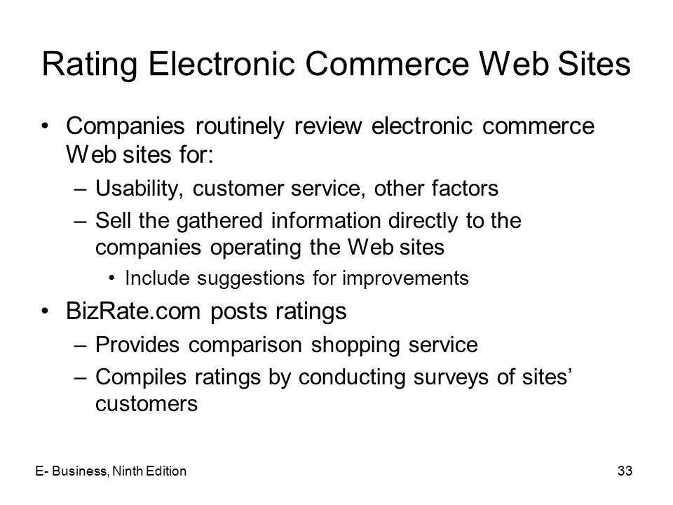 Rating Electronic Commerce Web Sites