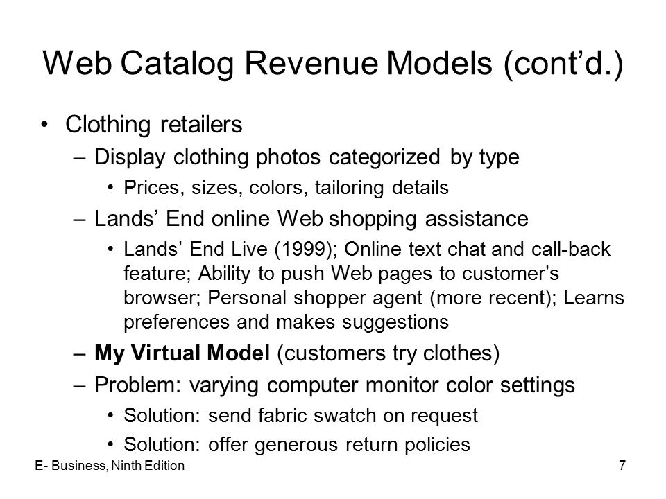Web Catalog Revenue Models (cont'd.)