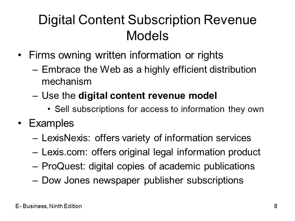 Digital Content Subscription Revenue Models