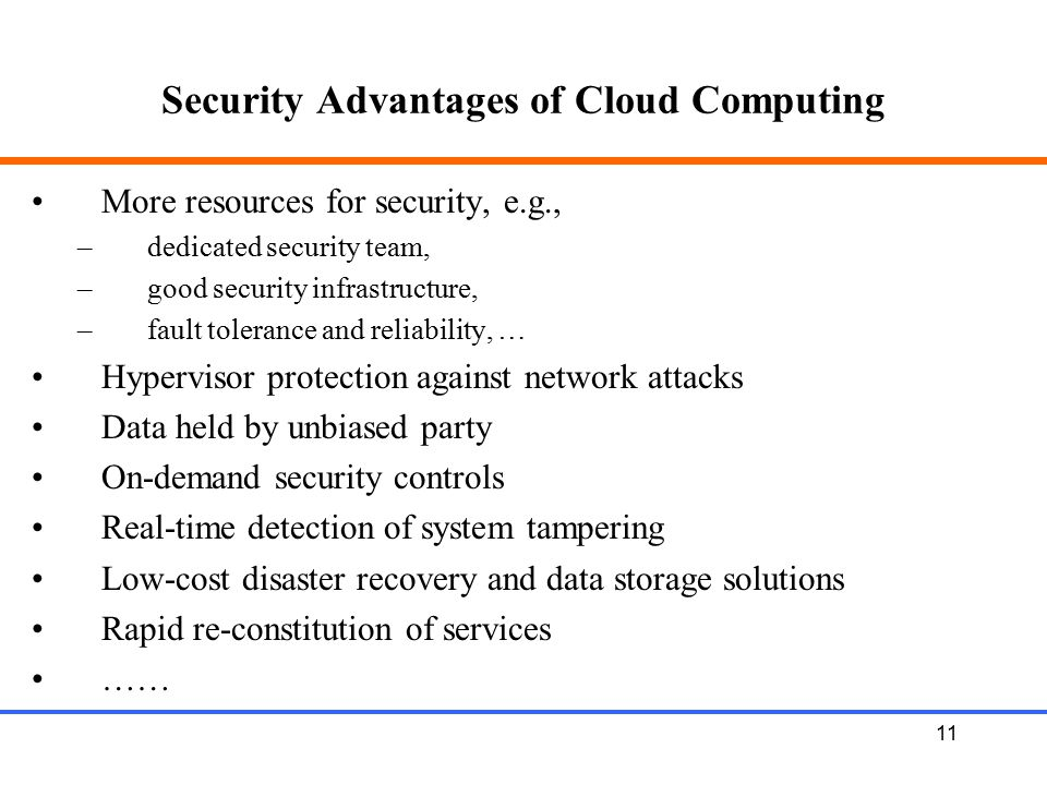 Security Advantages of Cloud Computing