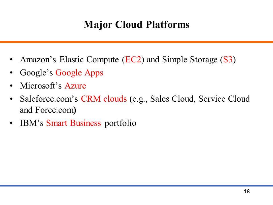 Major Cloud Platforms Amazon's Elastic Compute (EC2) and Simple Storage (S3) Google's Google Apps.