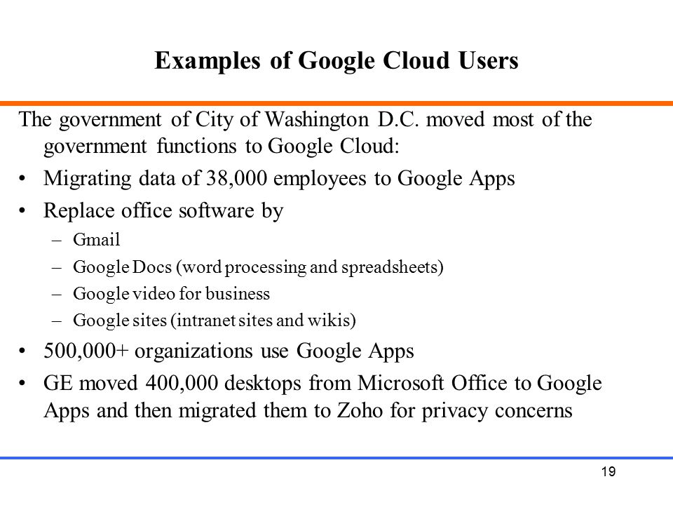 Examples of Google Cloud Users