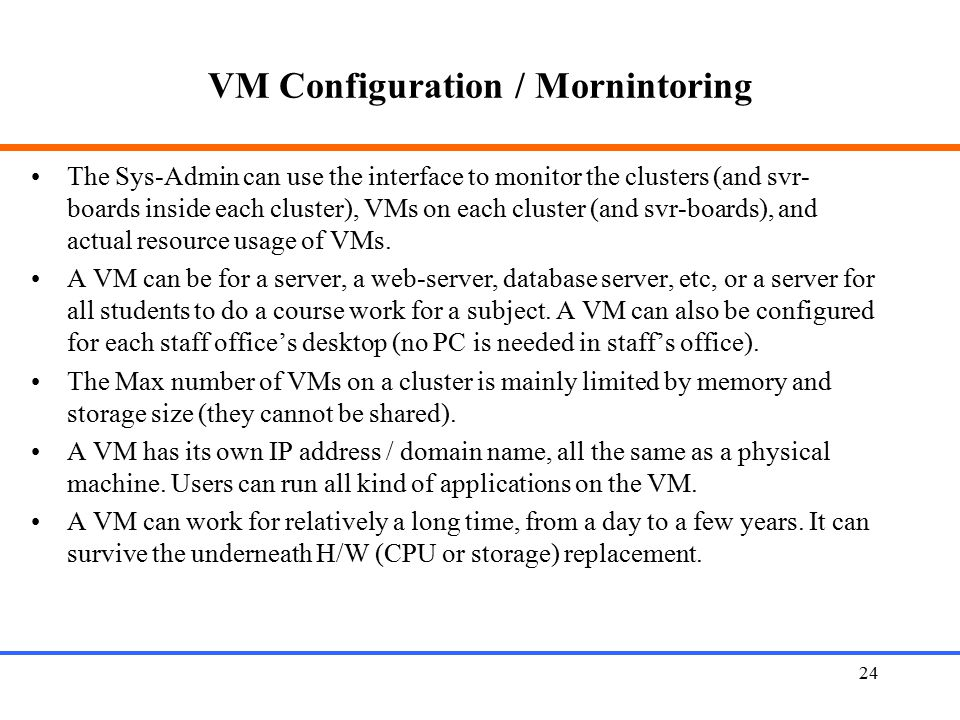 VM Configuration / Mornintoring