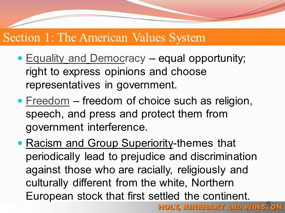 Section 1: The American Values System
