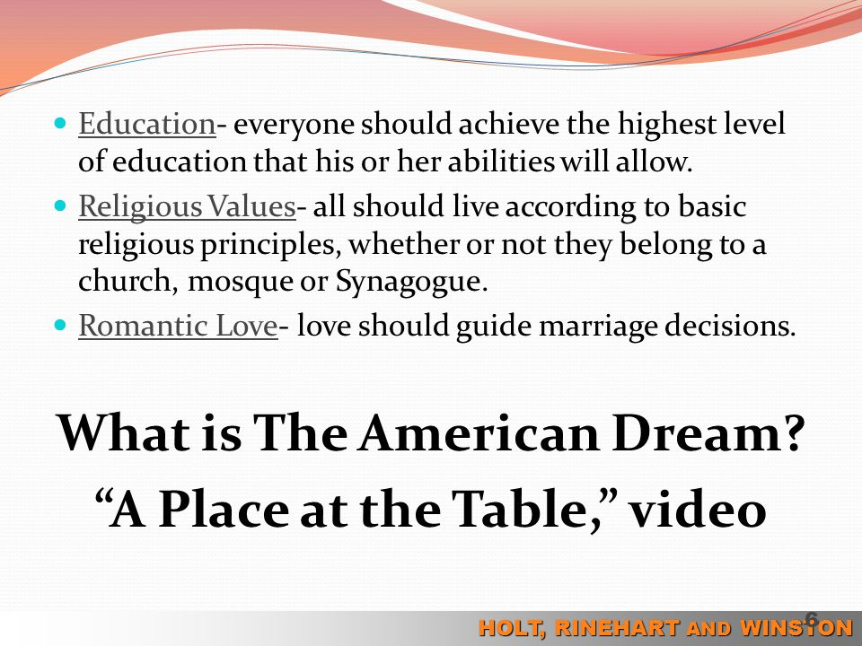 What is The American Dream A Place at the Table, video