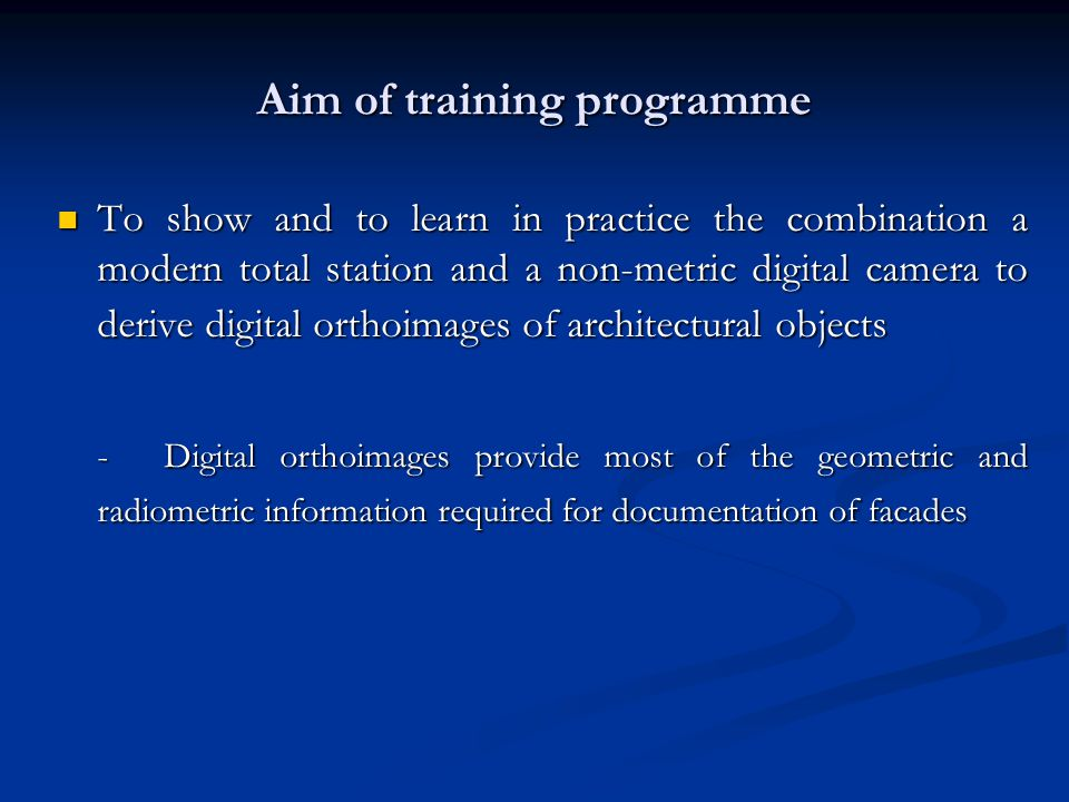 Aim of training programme
