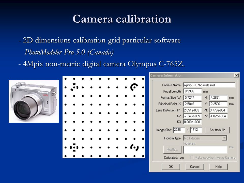 Camera calibration - 2D dimensions calibration grid particular software. PhotoModeler Pro 5.0 (Canada)