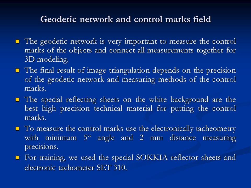 Geodetic network and control marks field