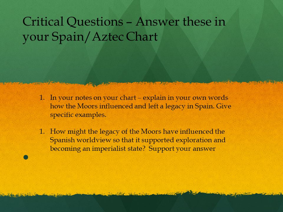 Critical Questions – Answer these in your Spain/Aztec Chart