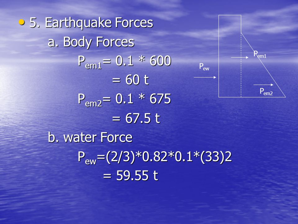 5. Earthquake Forces a. Body Forces Pem1= 0.1 * 600 = 60 t