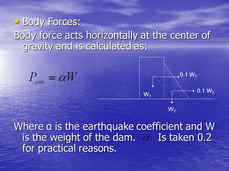 Body Forces: Body force acts horizontally at the center of gravity and is calculated as:
