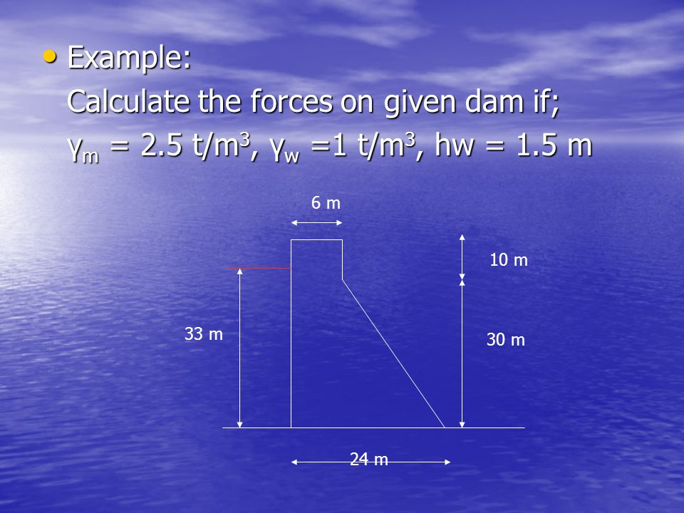 Calculate the forces on given dam if;